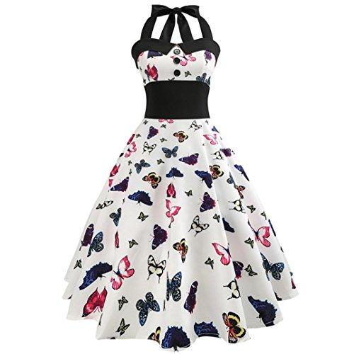 Lenfesh 50s 60s Vestido De Muejers Halter Mariposa Floral Imprimir Vintage Rretro Sin Mangas Rockabilly Dress (L, Rosado)