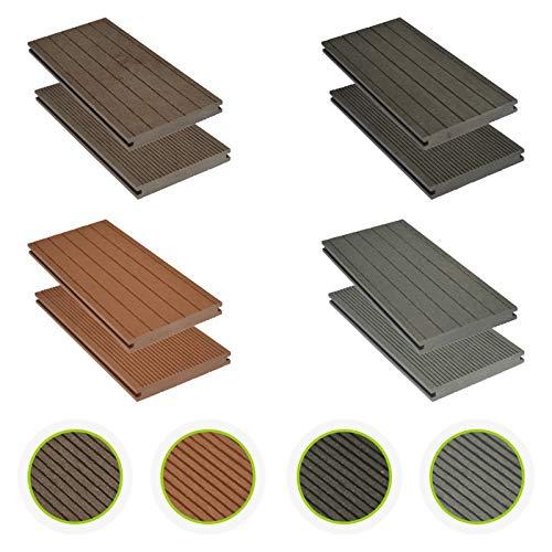 HORI® WPC-Terrassendielen massiv braun I Komplett-Set inkl. 40x60 mm Unterkonstruktion & Clips I Dielenlänge 4,00 m I Fläche 10 m²