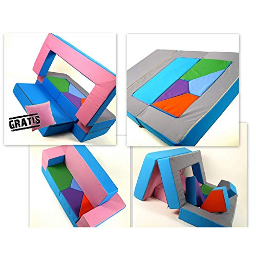 Gioco Divano 4in1Bambini Divano Gioco matraze per la cameretta Polster Soft Sofa Rosa/Azzurro Puzzle cameretta Divano Tavolo da Gioco mobili per Bambini