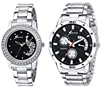 Rich Club Black Dial With Steel Belt Couple Watch - For Couple