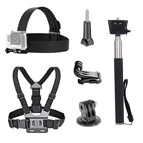 tekcam acción cámara Kit de accesorios Correa para la cabeza pecho arnés selfie stick monopié para Gopro Hero 65/Akaso ek7000/apeman/odrvm/Crosstour resistente al agua deporte cámara de acción