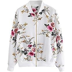 Overdose SeñOras De Las Mujeres Retro Floral O-Cuello Zipper Up Bomber Mejor Venden Chaqueta Casual Outwear (XL, M-Blanco)