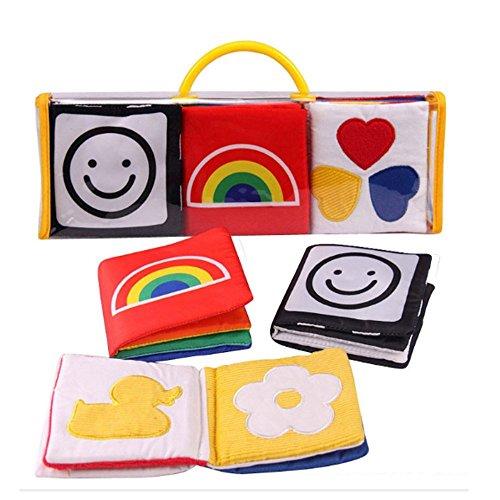 XLKJ Set di 3 libri per lo sviluppo visivo di bambini in stoffa, libri di stoffa per bambini, per...