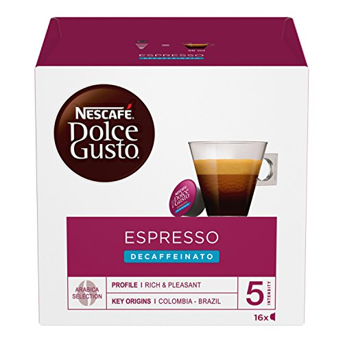 NESCAFÉ Dolce Gusto Espresso Decaffeinato, Caffè Espresso Decaffeinato, 6 Confezioni da 16 Capsule (96 Capsule)