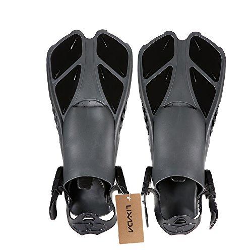 Lixada Pinne da Nuoto Galleggiante Formazione Pinna Flippers con Tacco Regolabile per Nuoto Immersione Snorkeling Acqua Gli Sport (Nero, XL)