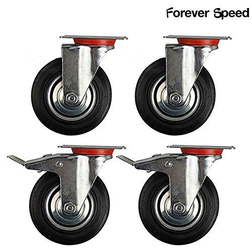 Forever Speed 4 pezzi 75 mm ruote di trasporto Ruote girevoli freno ruote robuste M/O argento/nero...