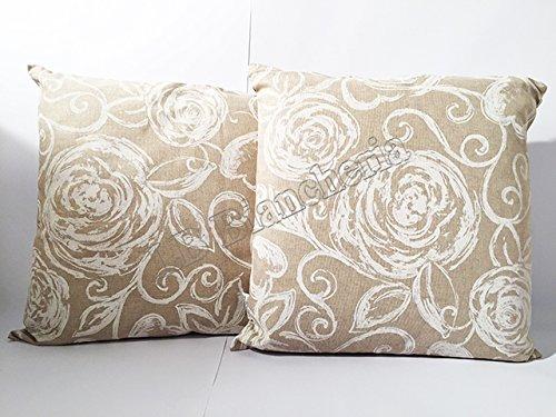 Coppia Cuscini Arredo cm 40x40, imbottitura + federa con zip - Made in Italy - Amelie bianco Rose...