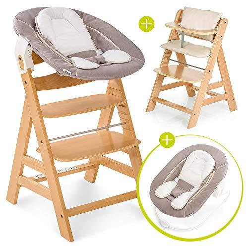 Hauck Alpha Plus Newborn - Seggiolone Pappa in Legno, evolutivo dalla Nascita - Con Sdraietta neonato, Riduttore, Cuscino seduta, Altezza regolabile - Beige naturale