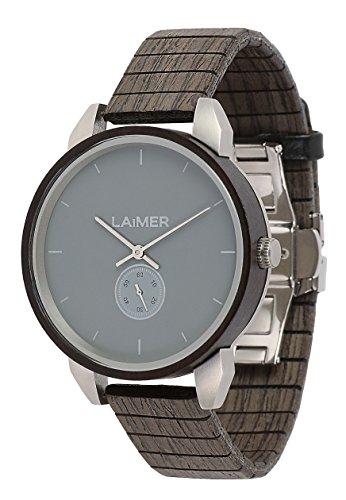 LAiMER Herren-Armbanduhr FELIX Mod. 0096 aus Sandelholz - Analoge Quarz-Uhr mit flexiblem Holzarmband