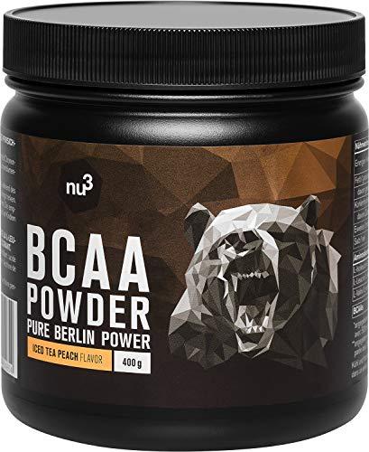 nu3 BCAA Pulver - essentielle Aminosäuren im 2:1:1 Verhältnis - 400g Ice Tea Peach - Pfirsich Eistee Geschmack - 9,8g BCAAs pro Portion - max. 5 kcal pro Drink - Vegan & Zuckerarm - gute Löslichkeit