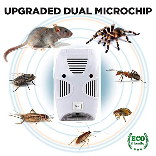 Turkha Electronic Home Pest & Rodent Repelling Aid for Mosquito, Cockroaches, Ants Spider Insect Pest Control Electric Pest Repelling Aid Magnetic Ultrasonic Indoor Rat Sensor