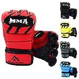 Brace Master MMA Gloves Guantes UFC Guantes de Boxeo para Hombres Mujeres Cuero Más Acolchado Saco de Boxeo sin Dedos Guantes para Kickboxing, Sparring, Muay Thai y Heavy Bag (Nuevo Rojo L)