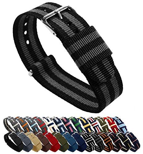 Barton, cinturino per orologio, in nylon balistico (18 / 20 / 22 / 24 mm), unisex, Black/Smoke (Bond), 20mm - Standard (10')