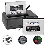 2 Baterías + Cargador Doble (USB) para cámara Deportiva Garmin Virb Ultra 30 Action CAM [1000 mAh / 3.7V / Li-Ion] - Contiene Cable Micro USB