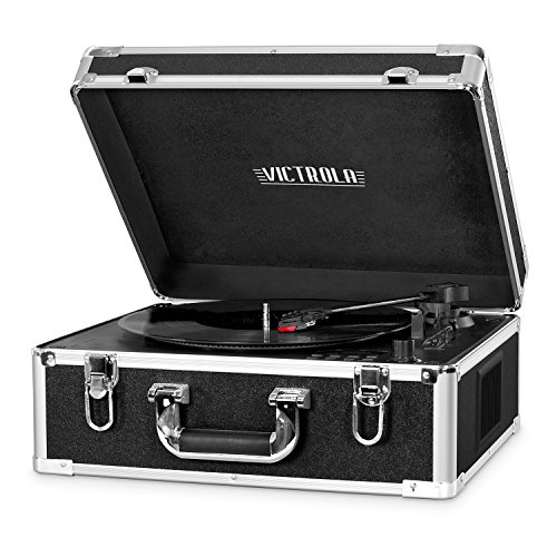 Victrola 3-Speed Bluetooth Suitcase Turntable with CD Player and Speakers, Black