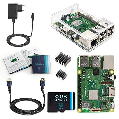 Raspberry Pi 3, modello B+ (Plus), se di base completo con custodia trasparente (edizione EU). Contenuto della confezione: Raspberry Pi 3 modello B+ (Plus) con 5 accessori essenziali