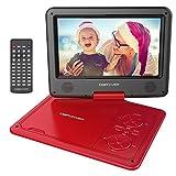 Reproductor de DVD Portátil de 9.5' con Pantalla Giratoria, 5 Horas recargable incorporada de la batería, Compatible con Tarjetas SD y USB, con el cargador del coche y dispositivo de juego - Rojo