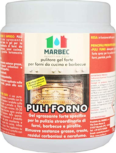 Marbec - PULI FORNO 1KG   Pulitore sgrassante forte in gel per forni da cucina e barbecue