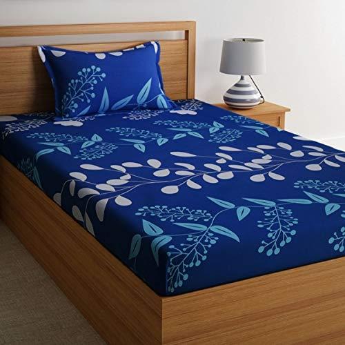 Home Ecstasy 100% Cotton Printed Bedsheet Set 3016 SGL (Blue,Single) 1  Home Ecstasy 100% Cotton Printed Bedsheet Set 3016 SGL (Blue,Single) 517b1hD6GGL