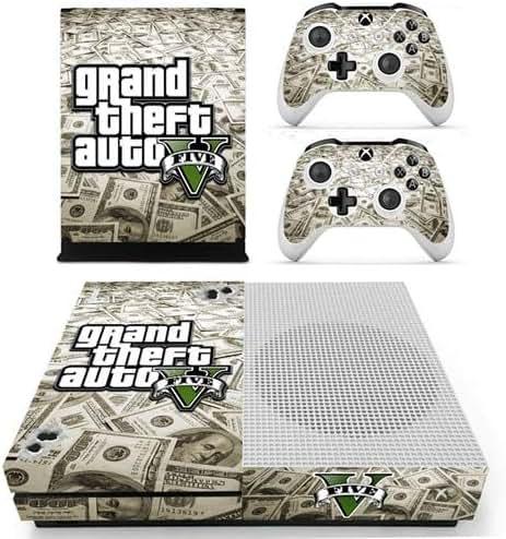 CIVIQ Grand Theft Auto V GTA 5 Skin Sticker für Microsoft Xbox One S Konsole und 2 Controller für Xbox One S Skin Vinyl
