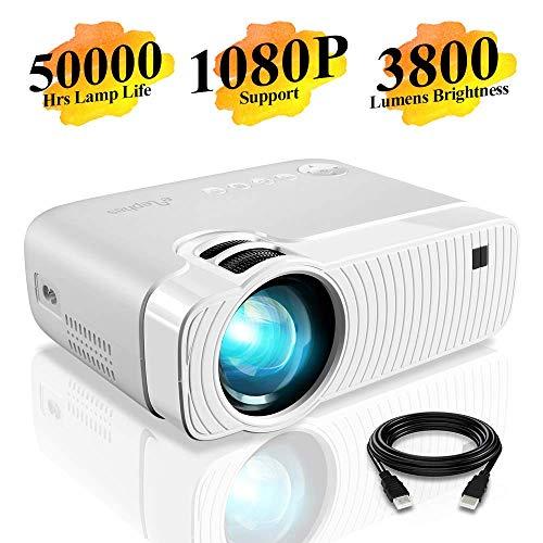 "Mini Beamer, ELEPHAS 3800 Lumen Tragbarer LED Projektor, unterstützt 1080P, Max 180 ""Display, 50000 Stunden Lampenlebensdauer, kompatibel mit USB / HD / SD / AV / VGA. MEHRWEG"