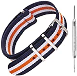 Nylon NATO Watch Strap by Sniper Bay® Straps | Military Style Divers Bands | 18mm 20mm 22mm 24mm (20mm, Blue/White/Orange)