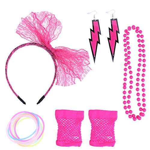 Amosfun 5pcs 80s Partito Custume Set Fascia Bracciali Collana Orecchino Guanti per Adulti (Rosy)