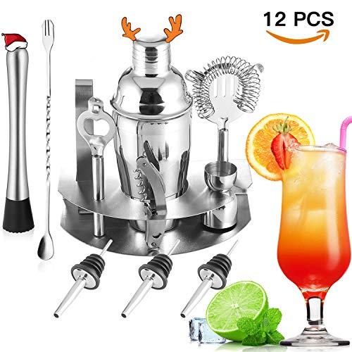 Set da cocktail, WEIWEITOE 12 pezzi Kit da barman Cocktail Bar in acciaio inox Set con 550ml Shaker, Jig, Fango, Apribottiglie, Filtro, Barista professionale