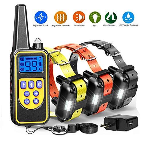 Collar de adiestramiento perros de 800 metros con 4 modos-luz, estímulo, vibración, sonido, para todo el tamaño