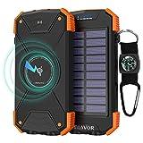 BLAVOR Wireless Power Bank Solar Ladegerät,10000mAh Externer Akku,Tragbare Notfall-Energie mit Type-C Eingangsports Dual LED-Lich,Kompass für iPhone,Samsung und andere Smartphones/Handys (Orange)