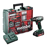 Metabo Akku-Bohrschrauber BS 18 Mobile Werkstatt Set (2x 2,0 Ah Amperestunden Akku inkl. Ladegerät, 18 Volt, 2 Gang, Brushless, Drehmoment-Stufen 21, inkl. Zubehör-Koffer) 602207880