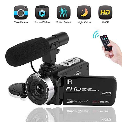 Videocamera con il Microfono Camcorder HD 1080P Videocamere di visione notturna Telecamera 16X per...