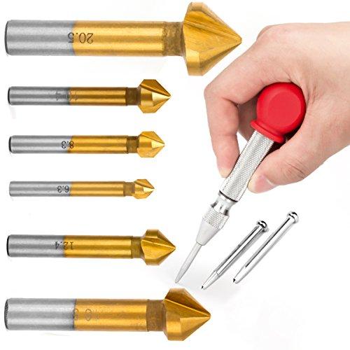 LAOYE 6 tlg 90° Kegelsenker Satz HSS Senker Entgrater Set mit Titan-Beschichtung 6,3-20,5 mm Kegelsenkersatz Senkbohrer - Metall Senker mit 1 Automatik Körner