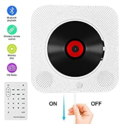 Kaufen CD Player Bluetooth an der Wand montierbaren tragbaren CD-Musik-Player mit Fernbedienung für Kinder und Studenten, FM-Radio Eingebauter HiFi-Lautsprecher, unterstützt USB/MP3/3,5 mm Kopfhörerbuchse/AUX Eingang-Ausgang (weiß)