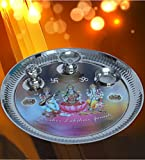 Kuber Industries™ Stainless Steel Pooja Thali with Ganesh Laxmi Saraswati Colorful Print, Insence Holder Diya and Bowl (Attached)- 12 Inches (POJ11)