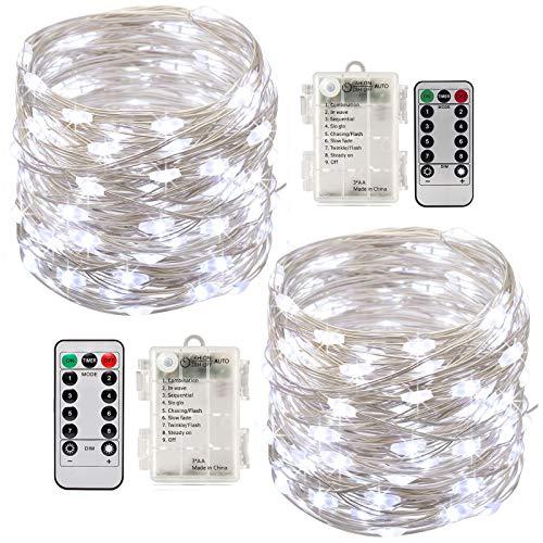 Stringa Luci Led,[2 Pack]Catene Luminose 10 metri 100LEDs Stringa Luci LED Impermeabile IP65 per Uso Interno ed Esterno per Decorazioni Festive e Natale (bianca)