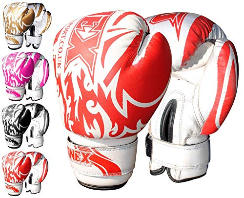 Onex 6 oz- Guanti da Boxe, MMA, Thai Boxe, Arti Marziali Junior-Sacco da Boxe Imbottiti (Red)