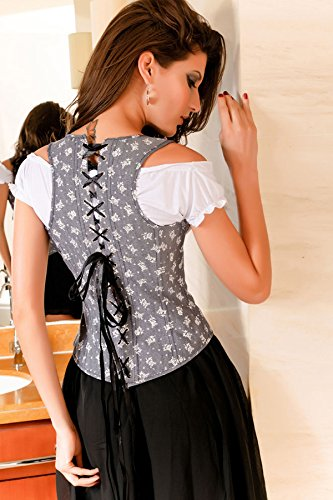 r-dessous sexy Dirndl Bluse weiss Trachten Bluse Mieder Bluse S - XXL Groesse: L/XL -