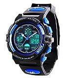 Kinder Digital Sportuhren - Jungen Wasserdichte Sportuhr mit Wecker Stoppuhr, analoge LED Armbanduhr mit Chronograph Wecker für Kinder Uhren (1163BLUE001)