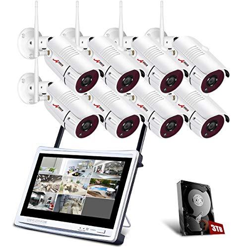 1080P Kit Videosorveglianza WiFi con Monitor LCD da 12', ANRAN 8ch Sistemi di Sicurezza Domestica, 8 Videocamere di Sorveglianza, 3TB Disco Rigido, Accesso Remoto, Visione Notturna, Avviso E-mail