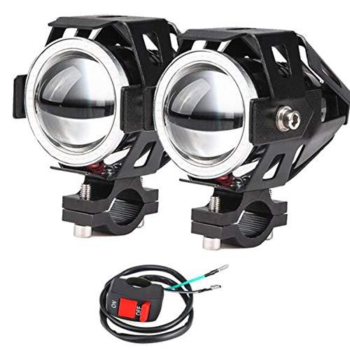 2x Motorrad Scheinwerfer mit Angel Eyes Lichter CREE U7 DRL Nebelscheinwerfer für Autos Fahrrad Boot ATV Frontscheinwerfer High/Dim/Strobe 3 Modi 6500K Weiße Farbe Schalter enthalten