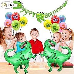 SPECOOL Decoraciones de Fiesta de Dinosaurio 3D - Dinosaurio de Estilo jurásico Mundial Happy Birthday Banner y Globos de Dinosaurio Set Favores de Partido Juguetes para niños Niños