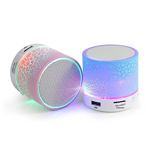 Roboster Rechargeable Bluetooth Speaker With Led Wireless Bluetooth Speaker With Handsfree Calling Feature, Fm Radio & Sd Card Slot ,Assorted