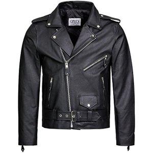 Gaudi-Leathers Herren Lederjacke Brando Jacke Rindleder Biker Motorrad Chopper schwarz, Marke 4