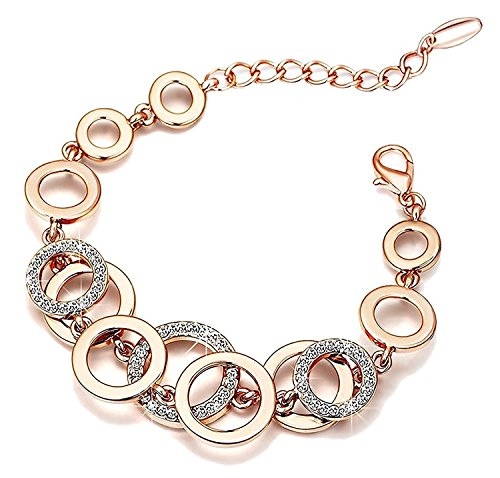 Shining Diva Fashion Jewellery 18k Rose Gold Crystal Bracelet Gift for Girls Women(9556b)
