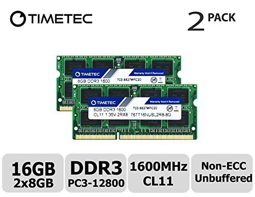 Timetec Hynix IC 16GB Kit (2x8GB) DDR3L 1600MHz PC3-12800 Unbuffered Non-ECC 1.35V CL11 2Rx8 Dual Rank 204 Pin SODIMM Laptop/Notizbuch Arbeitsspeicher Module Upgrade (16GB Kit (2x8GB))