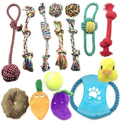 Juguetes para Perros, PietyPet Juguetes de Cuerdas y Juguetes de peluche con sonido, Frisbees Juguetes para morder, Pelotas Juguetes interactivos para Pequeñas y Medianas Perros, 15 Piezas