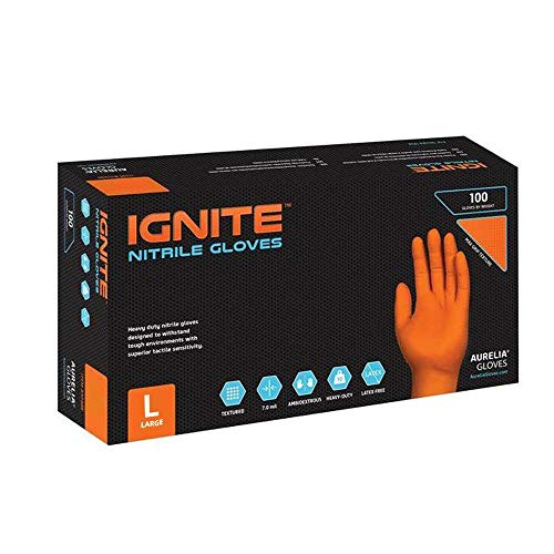 Ignite diamond-textured Orange powder-free nitrile resistente, L, Orange, 1