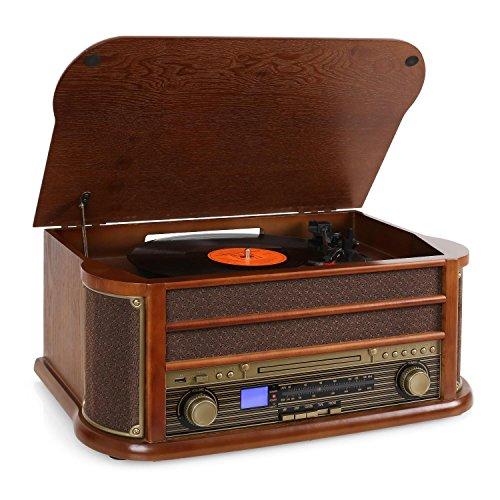 auna Belle Epoque 1908 • Retroanlage • Stereoanlage • Plattenspieler • Riemenantrieb • Stereo-Lautsprecher • Radio-Tuner • UKW Empfänger • USB-Slot • CD-Player • Kassettendeck • Holz Gehäuse • braun