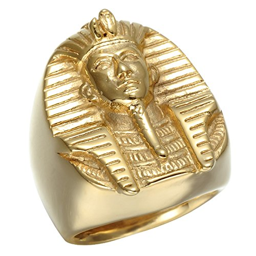 Anillo de acero inoxidable de Faraón Egipcio bañado en oro